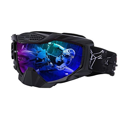 Oculares De Motocicleta, Pueden Llevar Gafas De Miopía, Casco Antivaho, Antideslumbrante Y Resistente Al Viento Compatible con Doble Protección para Patinaje sobre Nieve Todoterreno,Negro