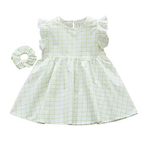 JERFER Baby Kinder Mädchen Ärmellos Rüsche Plaid Gedruckt Kleid + Stirnband Kleider Einstellen