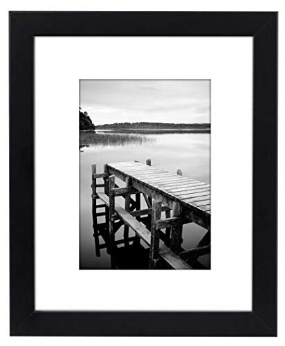 Americanflat 8x10 Black Picture Frame with Shatter-Resistant Glass - Displays 5x7 Photos with Mat and 8x10 Without Mat
