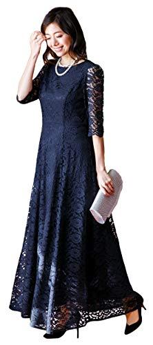 [アールズガウン]ロングドレス 母親 ロング 結婚式 発表会 フォーマル レース 羽織り 大きいサイズ アフタヌーンドレス FD-1952388 (ネイビー(ロング), LL)
