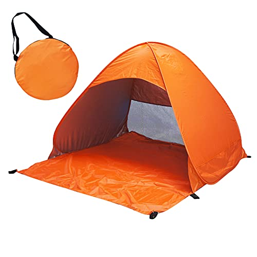 Tienda de playa automática al aire libre tienda de campaña de protección UV 190T impermeable plegable y sombra refugio para la familia, playa, picnic, camping, pesca, etc. (naranja)