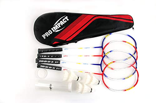 Pro Impact Badminton Set Aluminum Head w/Steel Shaft - Includes Rackets, Feather Shuttlecocks & Carry Case Outdoor Games for Kids Adults Family (4 Rackets, 6 Shuttles and Cover)
