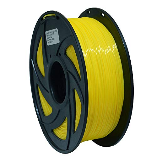 3D Flexible Yellow TPU Filament 1.75 mm, 2.2 LBS (1KG) Material: TPU,Hardness 95A