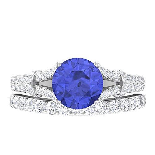 Rosec Jewels 14 quilates oro blanco redonda Round Brilliant Blue Tanzanita creada en laboratorio Moissanite