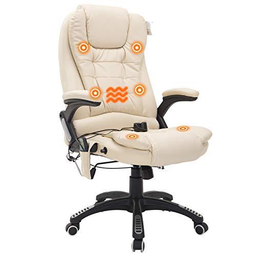HOMCOM Bürosessel Bürostuhl Chefsessel Gamingsessel Massagesessel 6 Punkt Vibrations Massage mit Wärmefunktion drehbar (Beige)