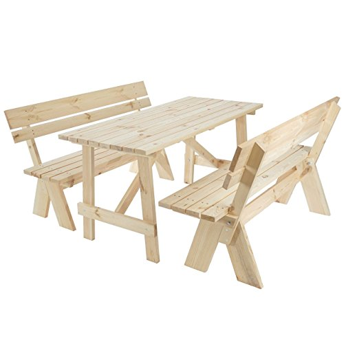Mendler Garniture de Jardin Oslo, Table + bancs en Bois Massif, qualité de Brasserie, 148 cm - Nature