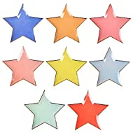 Meri Meri Jazzy Star Paper Plates - Disposable Party Supplies, For Birthday Parties, Baby Showers, and Wedding Celebrations, Large 11 x 11 Inch Size, 8 Colors, Pack of 8
