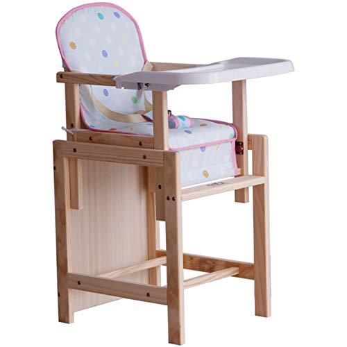 Chaise De Bébé Chaise Haute Bébé Bureau Multifonction pour Enfants en Bois Massif ZHANGQIANG (Couleur : Couleur du Bois, Taille : First Gear)