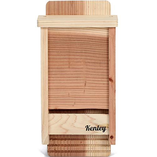 Kenley Bat House - Outdoor Bat Box Shelter with Single Chamber - Handcrafted from Cedar Wood - Easy for Bats to Land and Roost - Weather Resistant & Ready to Install