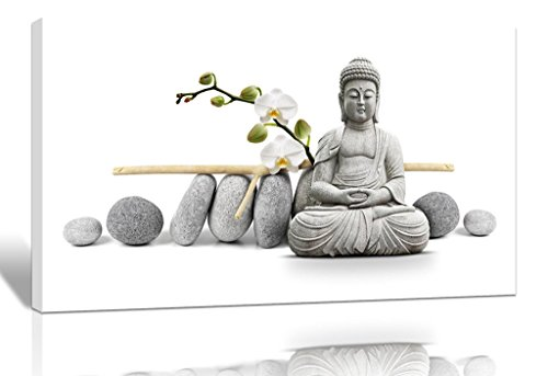 Purple Verbena Art 12''x16''Stretched and Framed Buddha with Stone Zen Pictures Photo Prints on Canvas Walls Paintings, Modern HD Giclee Wall Artwork for Bedroom Home Decor Decorations, Ready to Hang