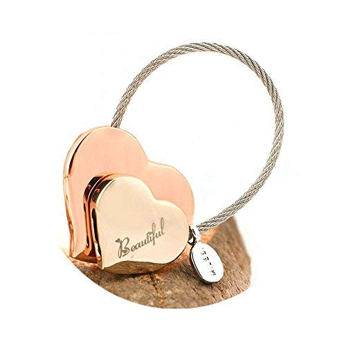 MILESI Heart to Heart Metal Keychain of Love for Women Sweet Couples Gift/Christmas Present(Rose gold-light gold)
