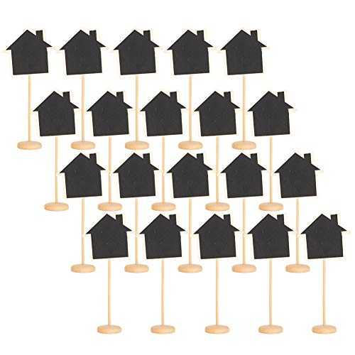 20Pcs Mini carteles de madera con soporte de caballete, pizarra de casa pequeña reutilizable para números de mesa, letreros de comida, letreros de boda, tablero de mensajes, tarjetas de lugar