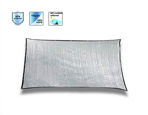Laxllent Aluminium Schaduwzeil, Zonblok Zon Reflect Huisdier Schaduw Rechthoek Luifel Luifel 70% UV-bescherming 3x4m ZILVER