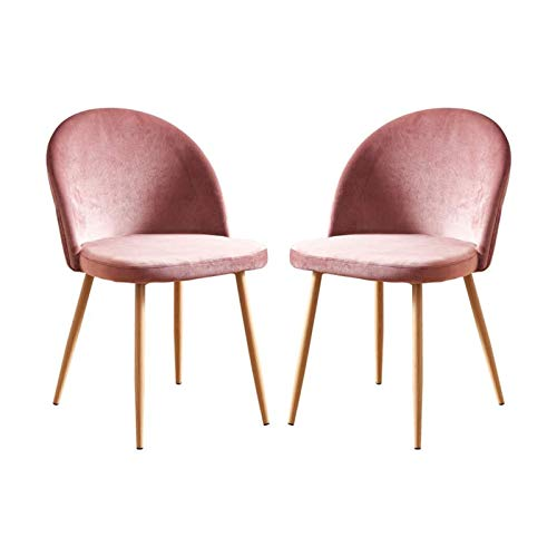 X-LSWAB Set Of 2 Occasional Pink Velvet Chairs For Dining Room Small Kitchen Chairs With Fabric Upholstered Metal Wood-like Legs Padded Seat Conversational Chairs For Office Reception