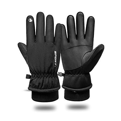 BISON DENIM Fahrradhandschuhe Winter Winterhandschuhe Herren Winddichte Wasserdicht Handschuhe Männer Warme Touchscreen (Schwarz, L (Handflächenumfang 21-22cm))