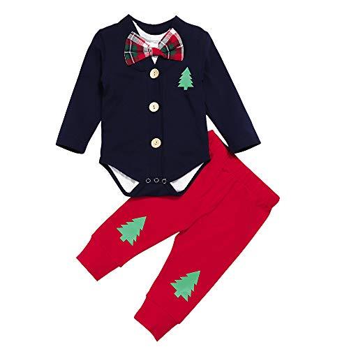 Newborn Baby Boy Christmas Outfits Gentleman Cardigan Suit+Bow Tie Bodysuit Inside+Pants 3Pcs Clothing Set Baby Christmas Clothes First Christmas Costume(0-3 Months)