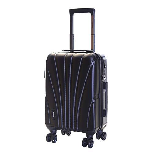 Karabar Hard Shell Cabin Carry-on Hand Luggage Suitcase Bag 55 cm 2.5 kg 35 litres 4 Spinner Wheels TSA Number Lock, Seashell Black