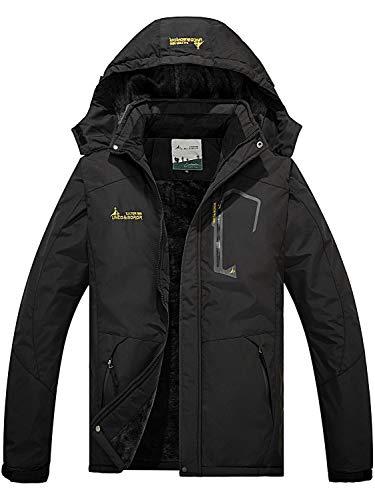 FARVALUE Men's Winter Waterproof Ski Jacket Mountain Warm Snow Coat Windbreaker Snowboarding Jacket with Hood Black Small