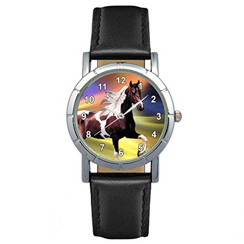 Timest - Paint Horse - Reloj para Mujer con Correa de Cuero Negro Analógico Cuarzo SA1774