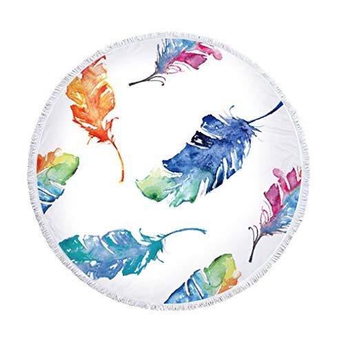 Sticker Superb Hermoso Toalla de Playa Redonda con Borla Grande 60 Pulgadas Cortina Estera de Yoga Manta de Playa para Niños Mujer y Hombre Verano (Pluma, 150 cm)