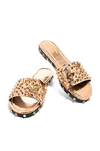 Cape Robbin Tonie Sandals Slides for Women, Studded Womens Mules Slip On Shoes - Rose Gold Size 5.5