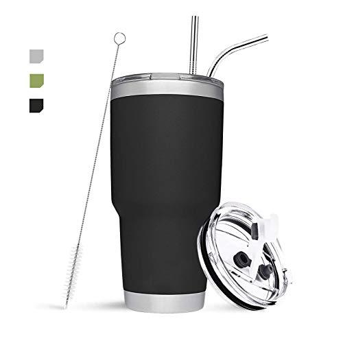 EdelstahlTumbler Becher Vakuumisolierte Kaffeetasse Doppelwandige Reiseflasche mit Thermobecher,2 Strohhalm,Rohrbürste,Spritzfestem Deckel für Reisen,Arbeit,Fitness(30oz,Schwarz)