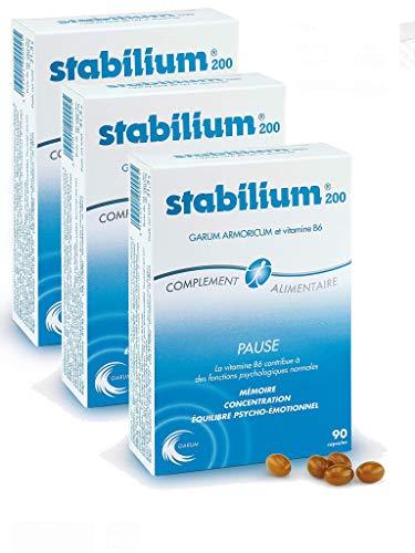 Yalacta - Stabilium 200-90 capsules molles - Mémoire Concentration Equilibre psycho-émotionnel - Lot de 3 boites de 90 Capsules (3)