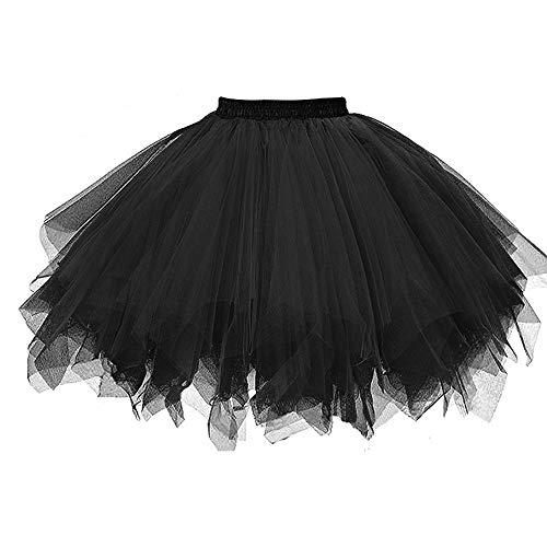 WOZOW Damenrock Tüllrock Einfarbig Kurz Multi-Schichten Unregelmäßiger Saum Tanzkleid Unterkleid Cosplay Frauen Party Karneval Halloween Kostüm (3XL =EU:42-54,Schwarz)