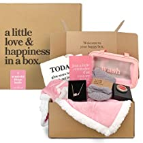 7-Piece Care Package Box, Warm & Relaxing Sympathy Blanket, Socks, Purse Hook, Gold Necklace, Tote Bag, Toiletry Bag, Greeting Card, Fuzzy Socks, Gift Box, Perfect Get Well Gifts for Women, Pink