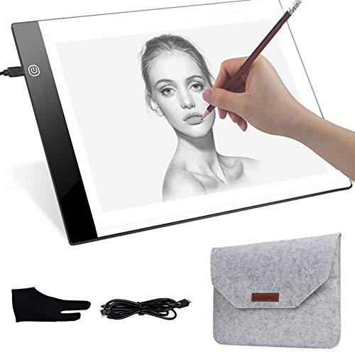 Liunian - Cuaderno de luz para dibujo, tamaño A4, ultrafino, con luz para dibujar en la mesa, para artistas con 3 brillos ajustables, alimentación por USB con guante y bolsa