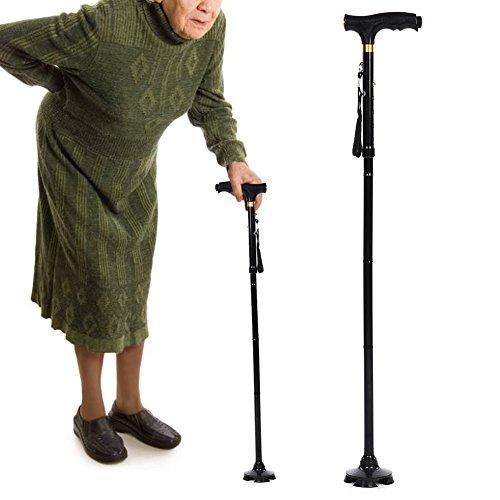 Telescopische opvouwbare krukken, LED-licht aluminium krukken voor ouderen om het lopen te ondersteunen, buiten ouderen T-vormige wandelstok voor ouderen