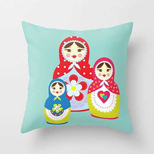 Toll2452 Babushka Kinderzimmer-Kissenbezug, Kinderzimmer-Dekor, Mädchenzimmer, Wurfkissen, Matroschka-Kissen, dekoratives Kinderkissen