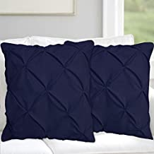 Precious Star Linen Pillow Sham Set of 2 Pinch Plated/Pintuck Pillow Cover Sham Solid Design 625 Thread Count Natural Cotton, Hypoallergenic (Navy Blue Solid, Euro/Square (26'' x 26''))