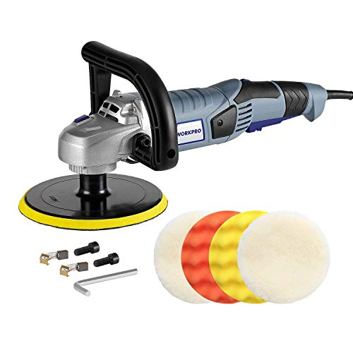 Cheapest Prices! WORKPRO Car Polisher - 7-inch Variable Speed Buffer Waxer with 4 Buffing and Polish...