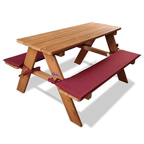 Coemo Stabile Kinder-Sitzgruppe mit Polster Picknicktisch Spieltisch Gartentisch Holz