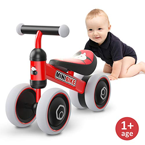 Baby Balance Bikes 10-24 Month Children Walker | Toys for 1 Year Old Boys Girls | No Pedal Infant 4 Wheels Toddler Bicycle | Best First Birthday New Year Holiday (Red Bull)