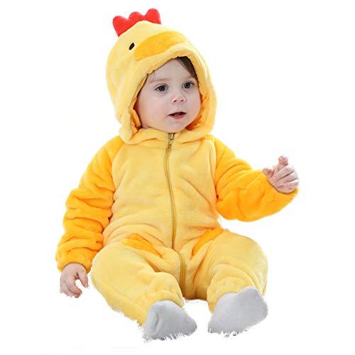 LSERVER Mameluco de Cosplay para Bebés Recién Nacidos Ropa de Arrastre Disfraz Unisexo de Franela con Capucha Estilo Animales, Pollito, 90 (Altura Recomendada:73-80cm)