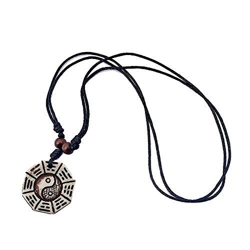 SWAOOS 1 Pieza de Hueso de Yak de imitación Chino Feng Shui Bagua Yin Yang Tai Chi Colgante Collar joyería de la Suerte