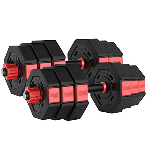 LJMG Manubri Set di Manubri E Bilancieri 2 in 1 con Manubrio Manubri Regolabili Pesi per Esercizi da Palestra in Casa Manubri Ottagonali (Color : BIACK-40KG)