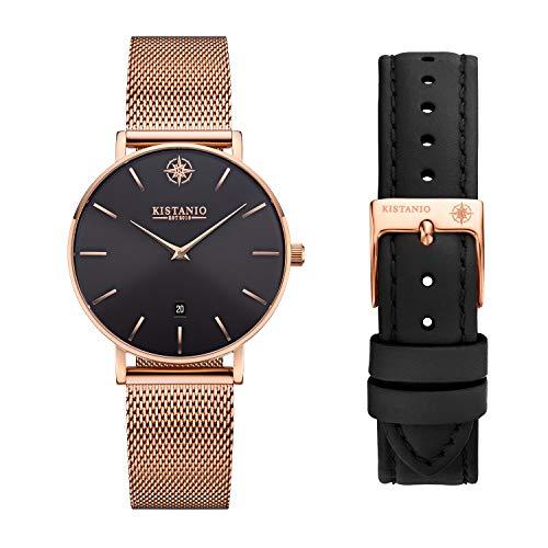Kistanio Petit RG-BLKS-M-L-BK - Reloj de pulsera para mujer con cristal de zafiro y correa de cuero