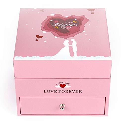 Caja de regalo rosa con 9 rosas de jabón, caja de joyería para collar, anillo, pendientes, colgante, embalaje, almacenamiento de San Valentín