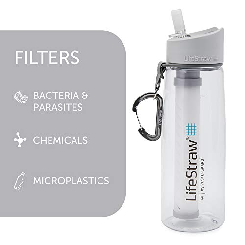LifeStraw Go Water Filter Bottle with 2-Stage Integrated Filter Straw for Hiking, Backpacking, and Travel, Clear