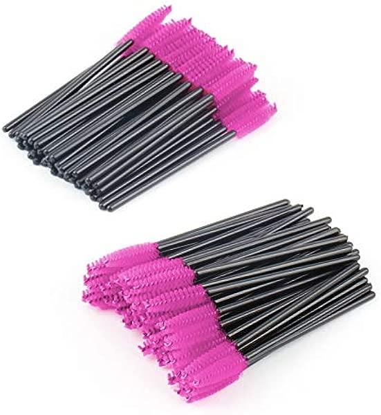 K A M 100pcs Make Up Brush Pink Synthetic Fiber Disposable Eyelash Brush Mascara Applicator Wand Brush Cosmetic Makeup Tool Beauty
