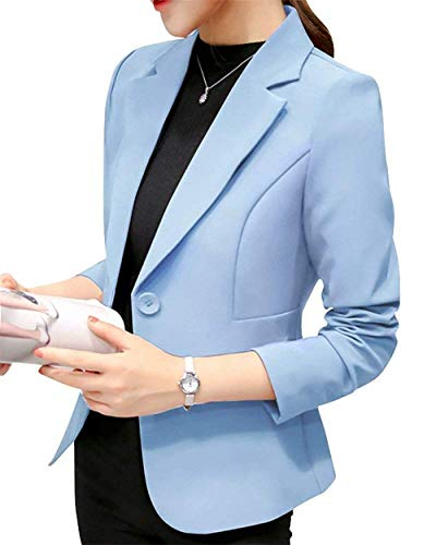 ORANDESIGNE Damen Elegant Blazer Langärmliger Anzugjacke Einfarbig Blazer Business Slim Fit Bolero Jacke Anzug Trenchcoat Hellblau DE 42