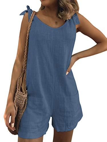 Minetom Damen Latzhose Ärmellos Overall Größe Jumpsuit Baggy Kurz Sommerhose Playsuits Leinen Wide Leg Hosenanzug Blau 36