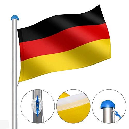 VINGO Aluminium Fahnenmast und Bodenhülse 6,5 m, hochwertiges Flaggenmast inkl. Deutschlandfahne 150 * 90 cm mit Abschlusskappe