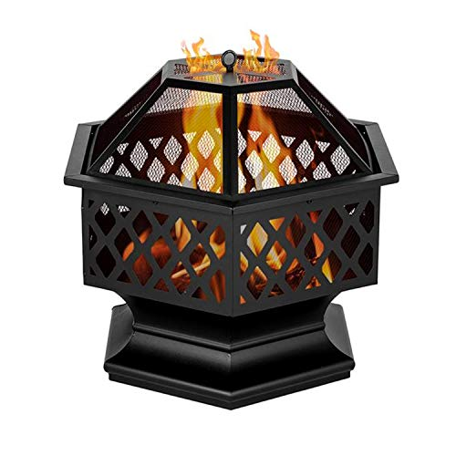 COFFEE CAT Hexagon Fire Pit, Fireplace Portable Iron Fire Pit Outdoor Wood Burning for Outdoor Outside Camping Patio Garden 24 Inch Black