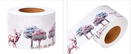 Cenefas de papel pintado autoadhesivas ciervo PVC Cenefa autoadhesiva Impermeable be móvil para baño Cocina Decoración Etiqueta de la Pared 10CM X 1500CM