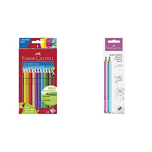 Faber-Castell 110912 - Farbstift Jumbo Grip Kartonetui 12er & 111678 - Bleistiftset Jumbo Sparkle, 2er Set