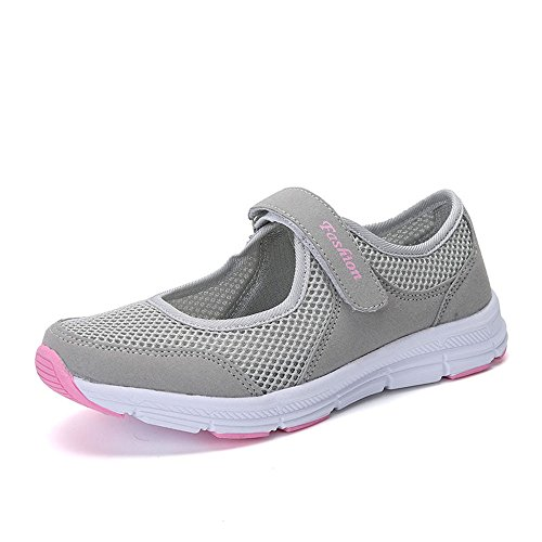 MRULIC Mode Damen Schuhe Sommer Sandalen Anti Slip Fitness Laufen Sportschuhe Prinzessin Turnschuhe(Grau,40 EU)